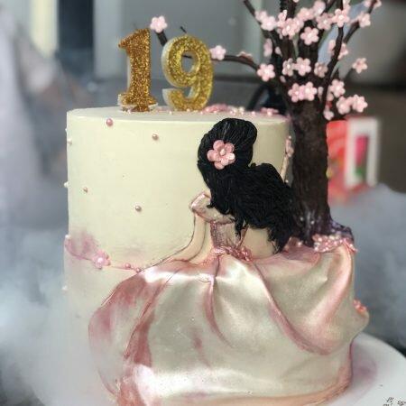 На фото круглый торт белого цвета украшенный числом и цветами, производителя кондитерских изделий на заказ Шарлотка.