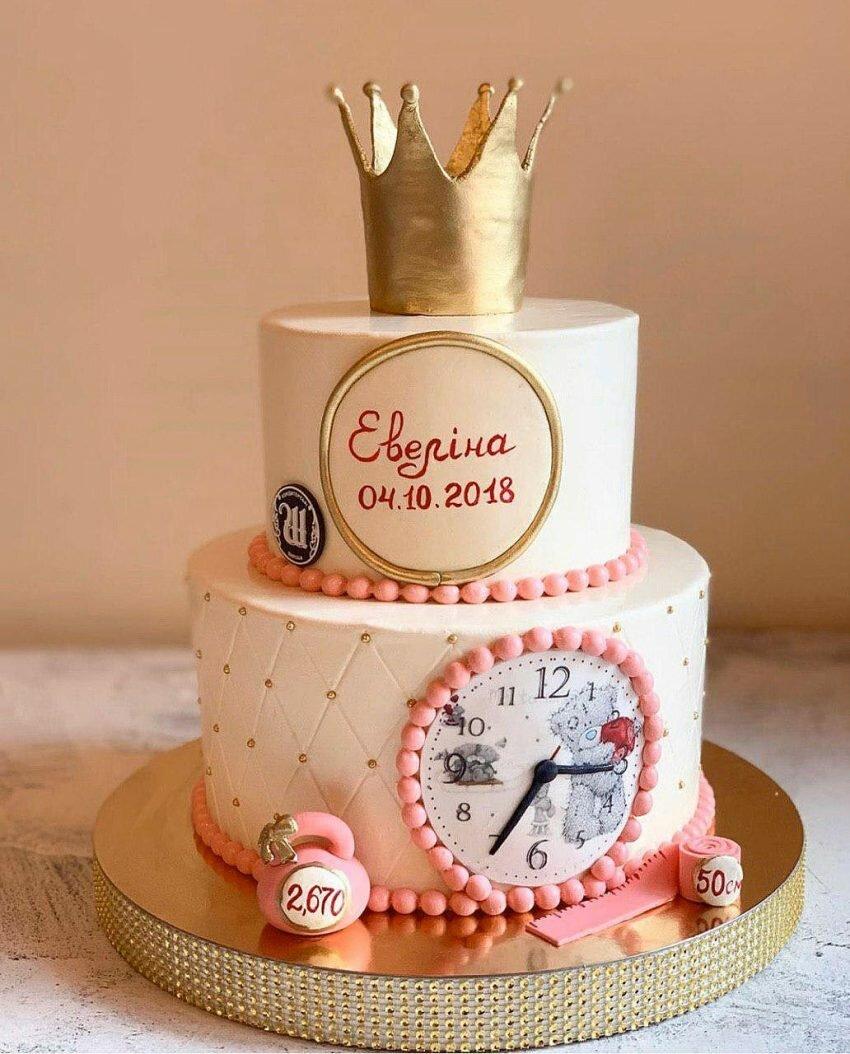 На фото круглый двухъярусный торт с надписью, украшенный сверху короной, производителя кондитерских изделий на заказ Шарлотка.